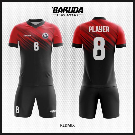 Desain Jersey Futsal Printing Warna Merah Hitam Berkharisma