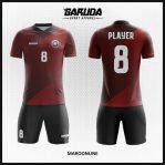 Desain Kostum Futsal Printing Warna Merah Maroon Motif Garis
