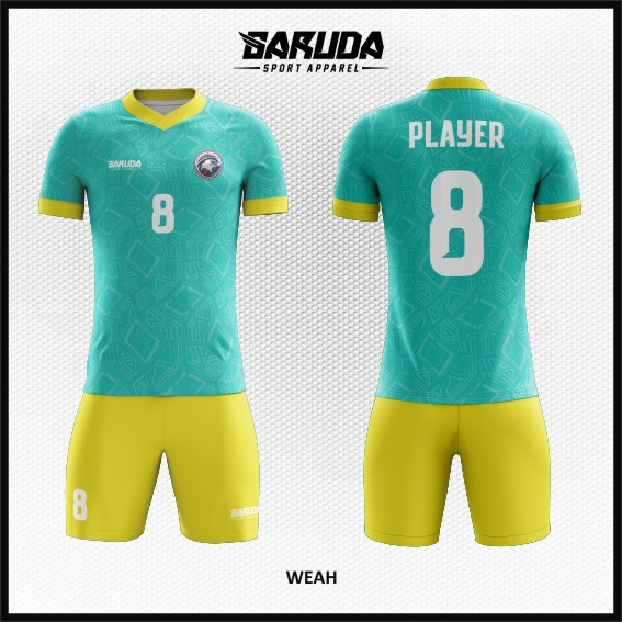 Desain Kostum Sepakbola Printing Warna Hijau Kuning Kekinian