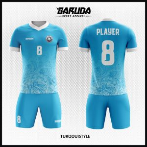 Desain Jersey Futsal Printing Warna Biru Tosca Motif Batik