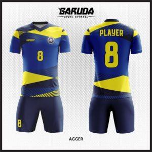Desain Baju Bola Futsal Warna Biru Kuning Paling Bagus