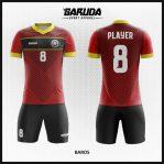 Desain Baju Futsal Merah Hitam Motif Bergaris Istimewa