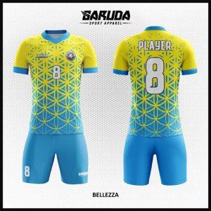 Desain Baju Futsal Warna Kuning Biru Berornamen Yang Trendy