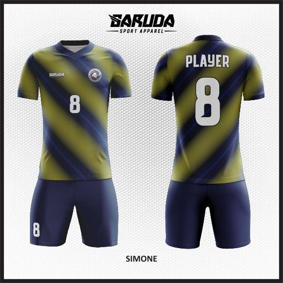 Desain Baju Sepakbola Warna Biru Kuning Unik Banget