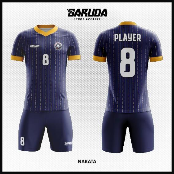 Desain Jersey Bola Futsal Warna Biru Dongker Tampil Simple