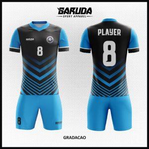 Desain Jersey Futsal Printing Warna Biru Hitam Tampil Gahar