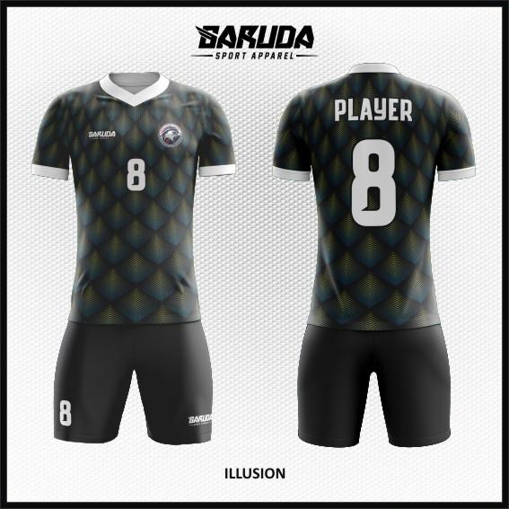 Desain Jersey Futsal Warna Hitam Motif 3 Dimensi Terbaru