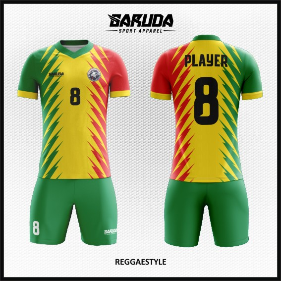 Desain Jersey Sepakbola Motif Reggae Warna Hijau Kuning Merah
