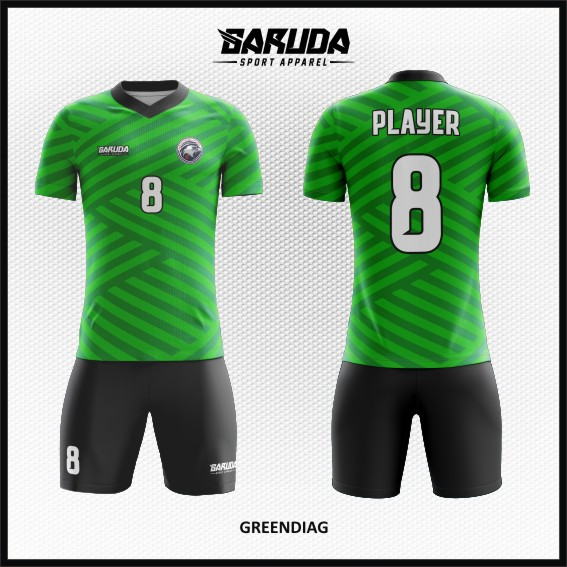 Desain Jersey Sepakbola Warna Hijau Motif Zig Zag Terbaru