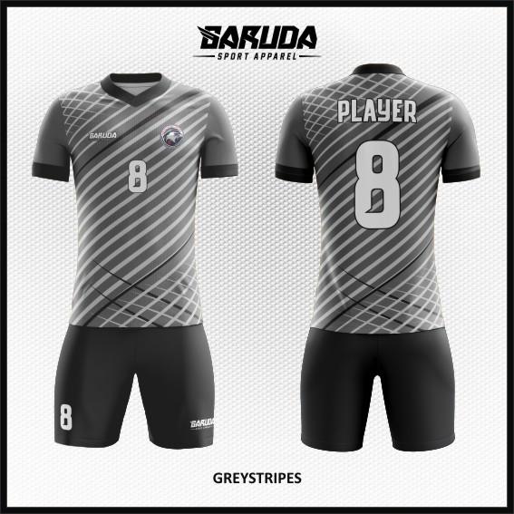 Desain Kaos Futsal Motif Bergaris Warna Abu-Abu