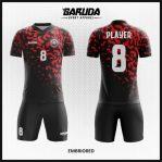 Desain Seragam Sepakbola Full Print Warna Hitam Merah Paling Unik