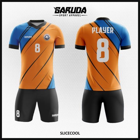 Desain Baju Futsal Printing Warna Biru Orange Yang Soulid