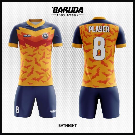 Desain Baju Futsal Warna Orange Biru Motif Kelelawar