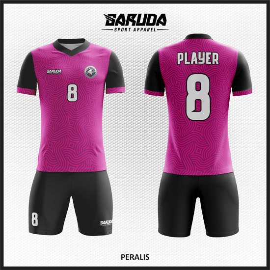 Desain Baju Sepak Bola Warna Ungu Hitam Fleksibel