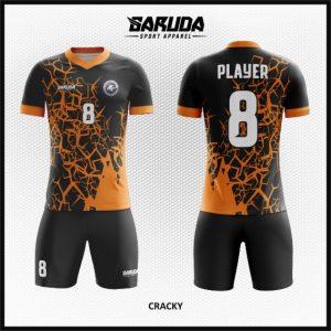 Desain Jersey Bola Futsal Warna Hitam Orange Paling Oke