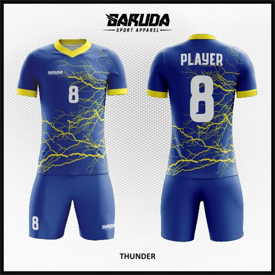 Desain Jersey Futsal Warna Biru Motif Kilatan Petir