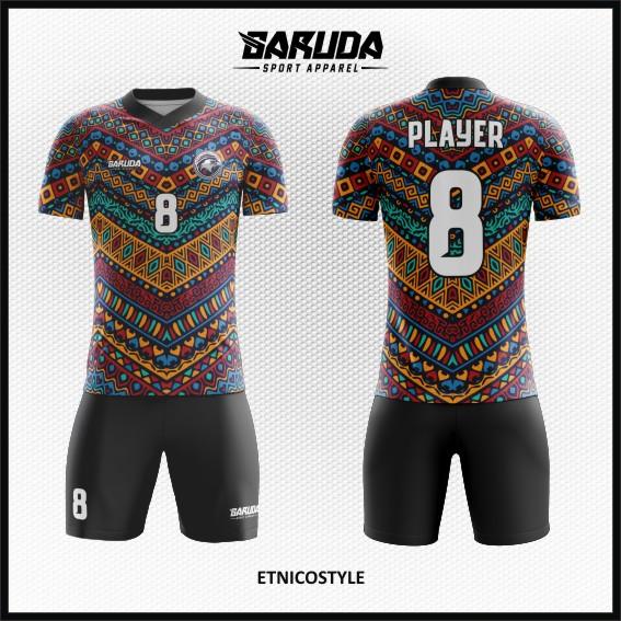 Desain Kaos Sepakbola Motif Etnik Batik Paling Unik