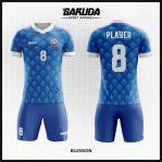 Desain Kostum Sepakbola Warna Biru Motif Diamond